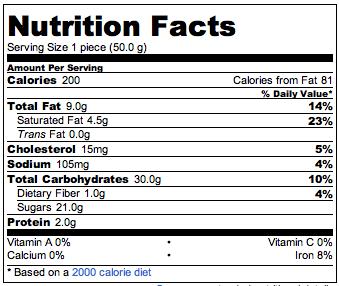 informacion nutrimental gansito