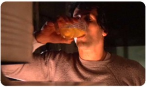 Rocky drinking raw eggs